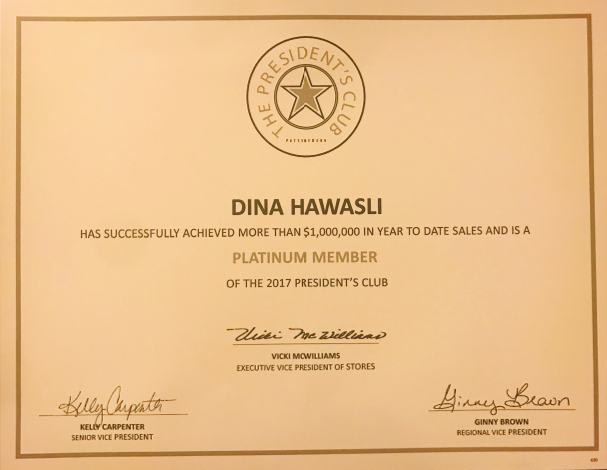 Dina The President's Club Sales Achievement